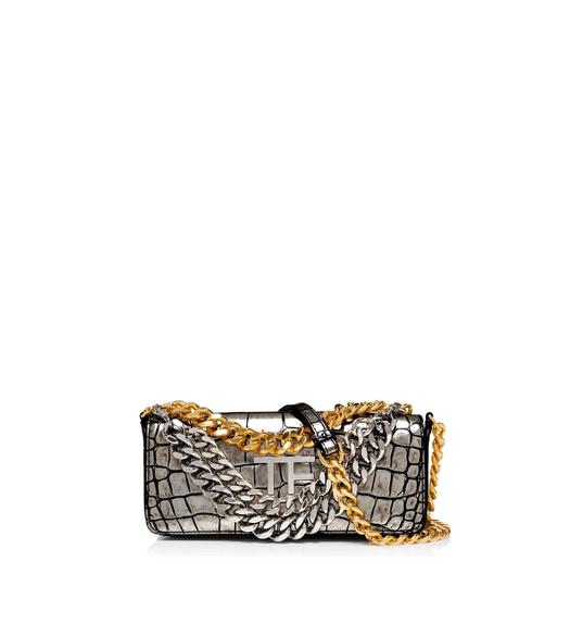 SMALL EMBOSSED CROCODILE TRIPLE CHAIN BAG