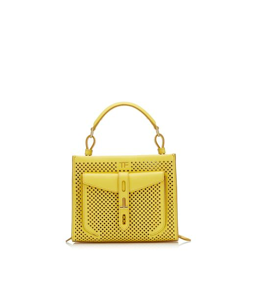 PERFORATED LEATHER T TWIST MINI TOP HANDLE BAG