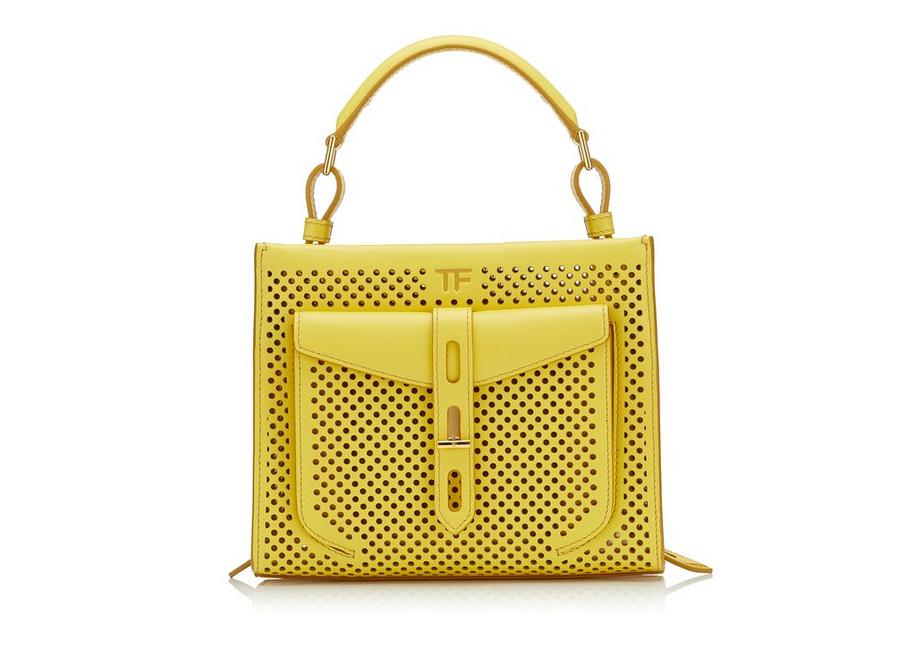 PERFORATED LEATHER T TWIST MINI TOP HANDLE BAG A fullsize