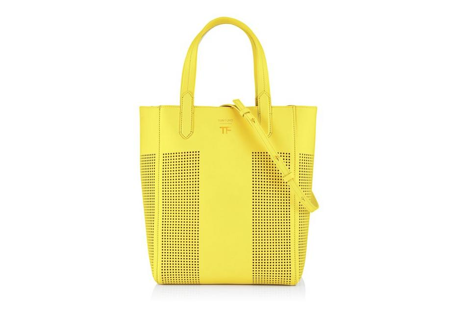 PERFORATED LEATHER SMALL NORTH/SOUTH GRAPHIC T TOTE A fullsize