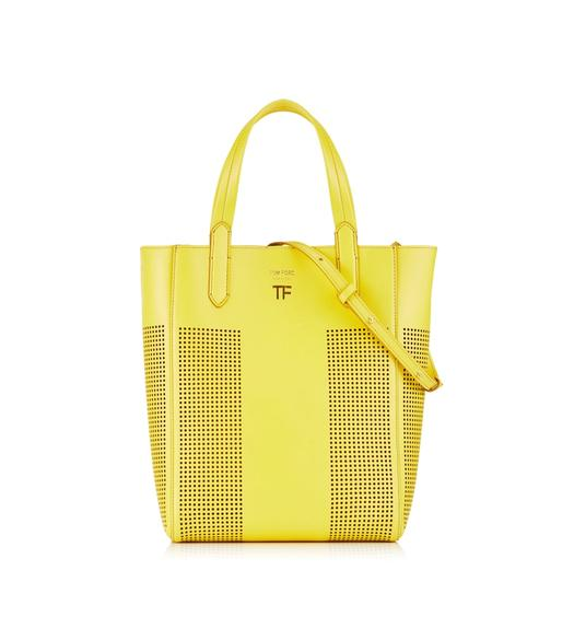 PERFORATED LEATHER SMALL NORTH/SOUTH GRAPHIC T TOTE