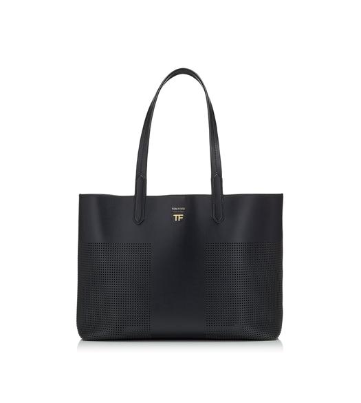 PERFORATED LEATHER SMALL EAST/WEST GRAPHIC T TOTE