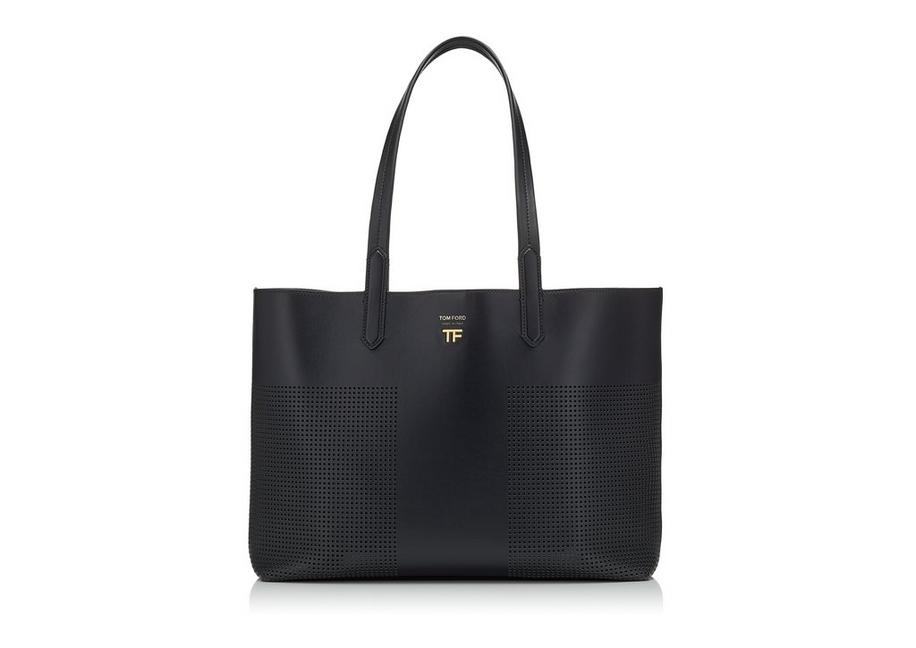 PERFORATED LEATHER SMALL EAST/WEST GRAPHIC T TOTE A fullsize
