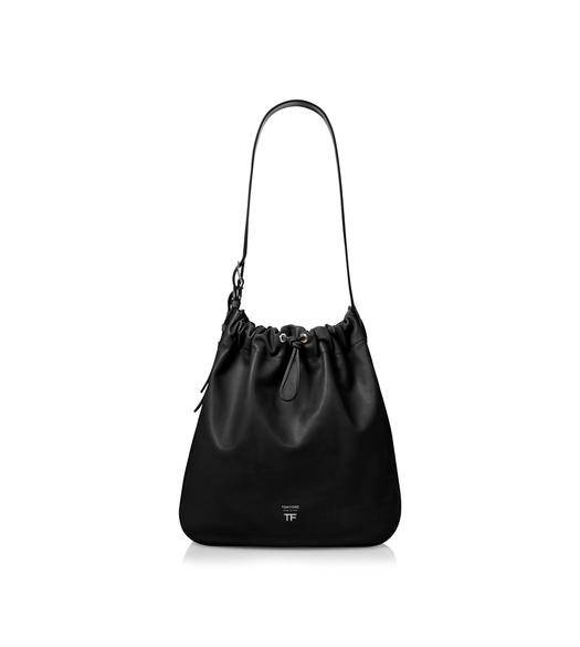 CALF LEATHER DOUBLE BUCKLE HOBO BAG