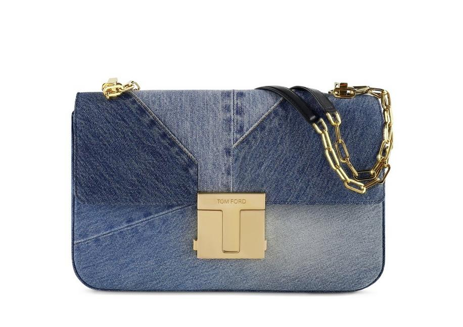 DENIM PATCHWORK 001 CHAIN MAXI SHOULDER BAG A fullsize