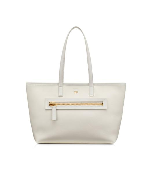 GRAIN LEATHER ZIP MEDIUM E/W TOTE