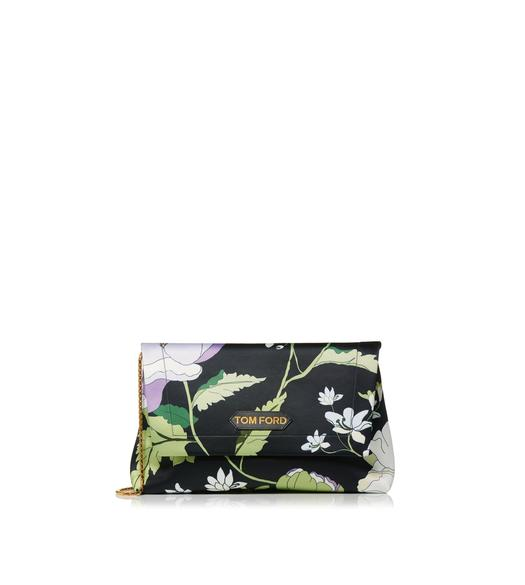 POPPY PRINTED SATIN LABEL MEDIUM SHOULDER BAG