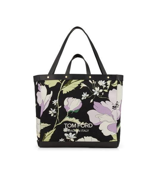 POPPY PRINTED CANVAS T SCREW MEDIUM SHOPPING BAG