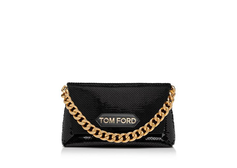 SEQUINS EMBROIDERY LABEL MINI CHAIN BAG A fullsize