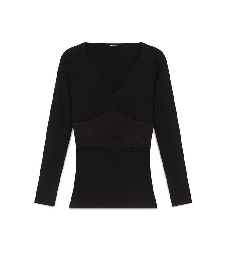 MERINO WOOL V-NECK TOP WITH SUEDE PANEL A fullsize
