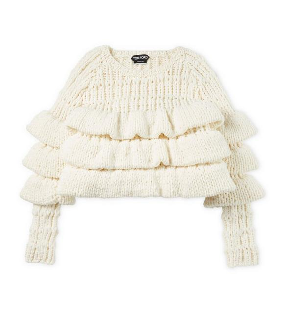 CROPPED LAYERED WOOL SWEATER A fullsize