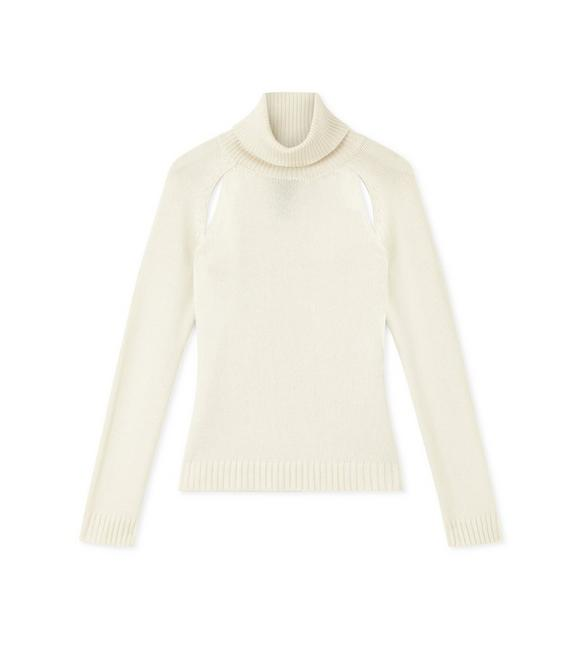 CASHMERE CUT-OUT TURTLENECK TOP A fullsize