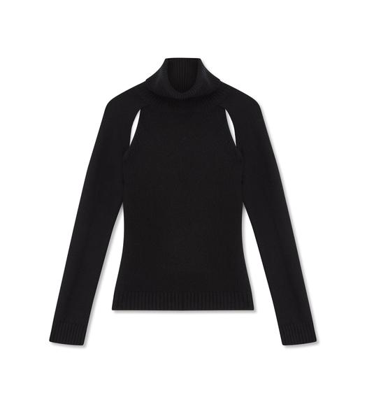 CASHMERE CUT-OUT TURTLENECK TOP