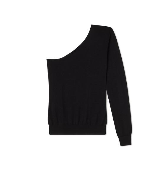 FINE CASHMERE SILK ONE SHOULDER SWEATER