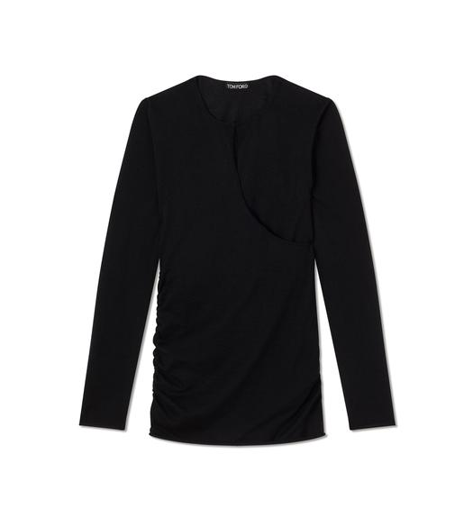 FINE CASHMERE SILK CROSS OVER SWEATSHIRT