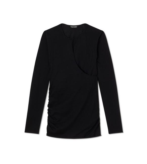 FINE CASHMERE SILK CROSS OVER SWEATSHIRT A fullsize