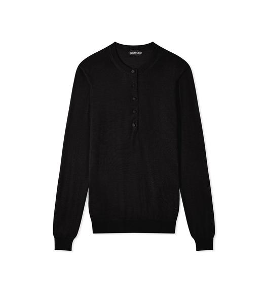 FINE CASHMERE SILK OPEN CREW NECK SWEATER