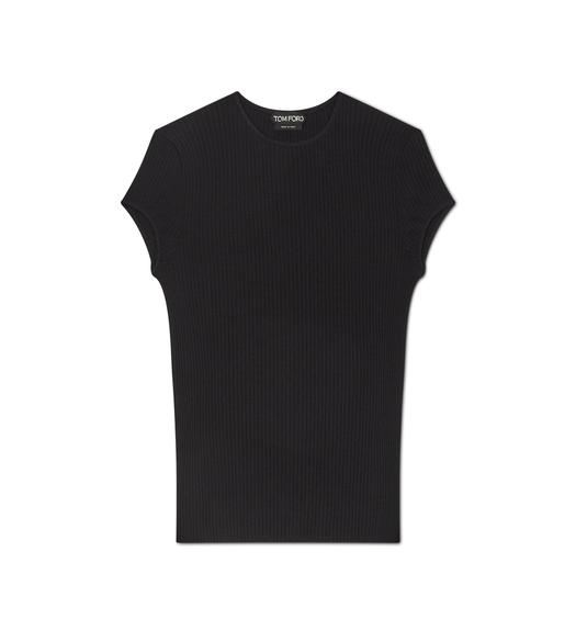 PLEATED SILK RIB T-SHIRT