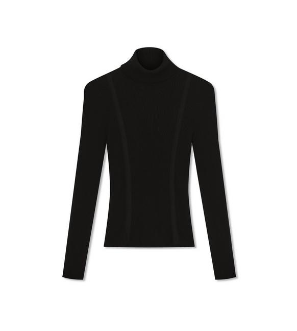 STRETCH CASHMERE RIB TURTLE NECK TOP A fullsize