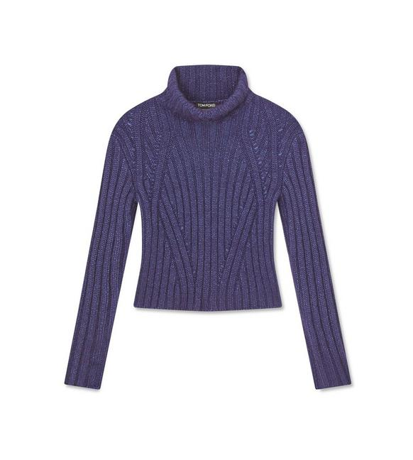 MOHAIR CASHMERE RIBBED TURTLE NECK TOP A fullsize