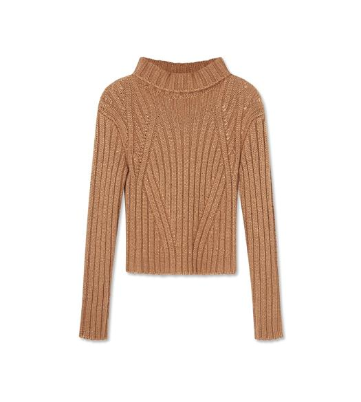 MOHAIR CASHMERE RIBBED TURTLE NECK TOP