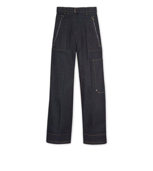 RAW DENIM WIDE LEG PANTS
