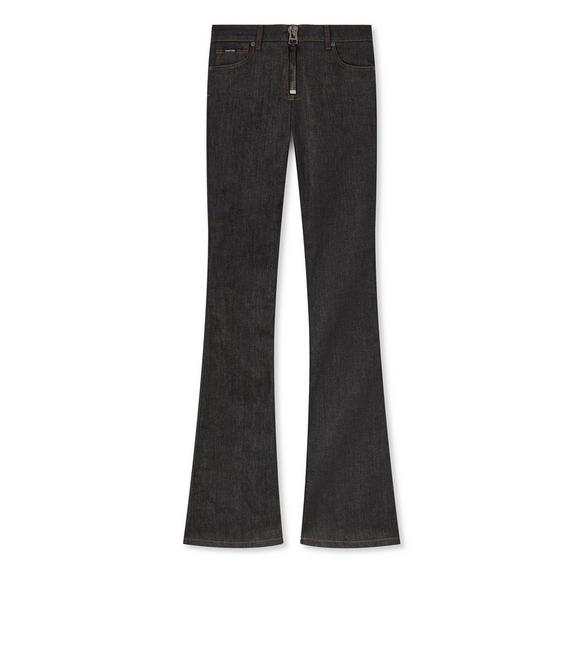 DENIM ZIP FRONT FLARE PANTS A fullsize