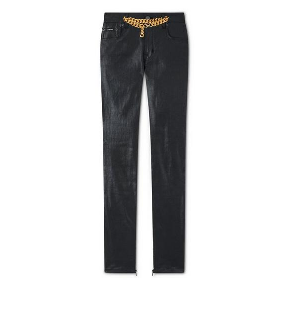 SHINY LACQUERED SKINNY CHAIN JEANS A fullsize