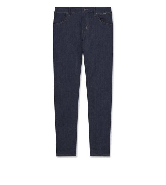 STRETCH INDIGO DENIM BOYFRIEND JEANS A fullsize