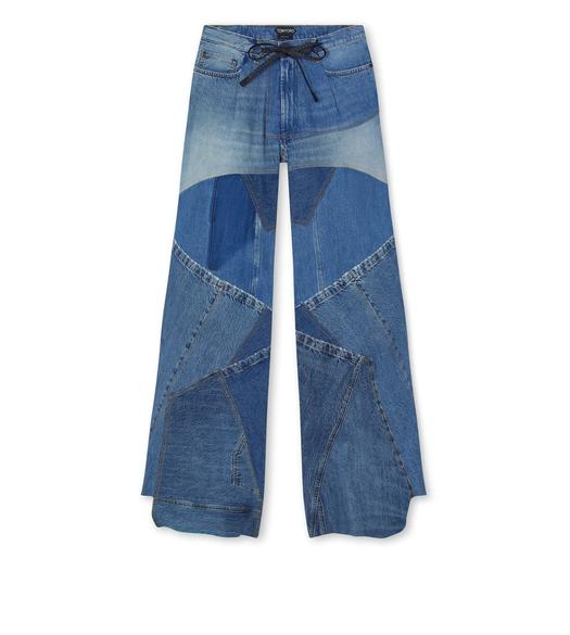 WIDE LEG DENIM PANTS WITH LEATHER DETAILS