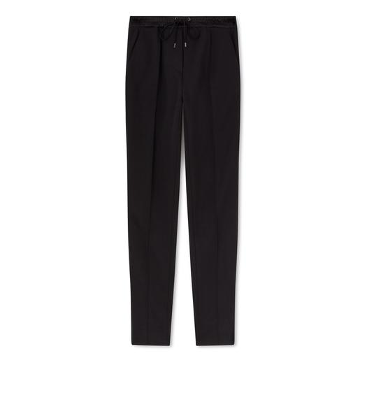 SILK BLEND TERRY DRAWSTRING TUXEDO PANTS