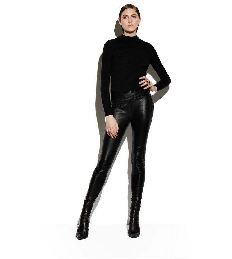 LEATHER LEGGINGS WITH ANKLE CUFF & ZIP B fullsize