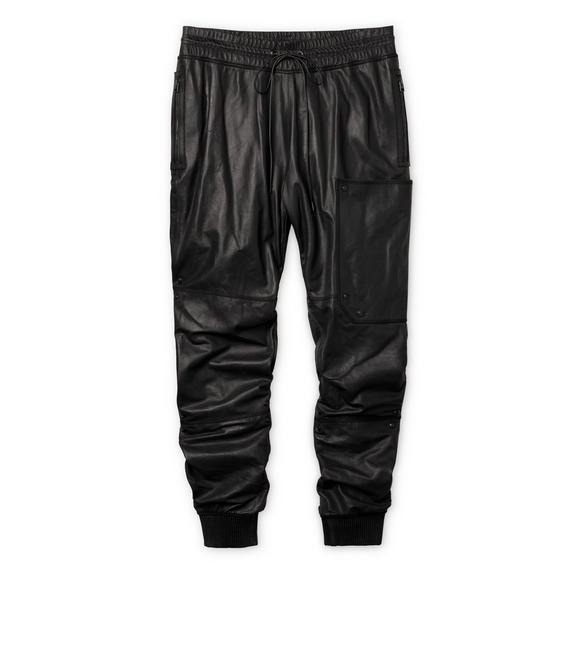 LEATHER JOGGING PANTS A fullsize