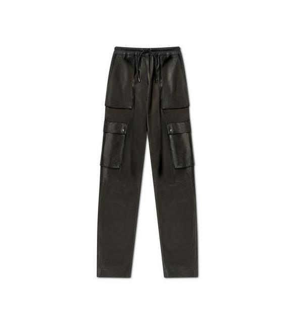 LEATHER BOYFRIEND FIT PANTS A fullsize