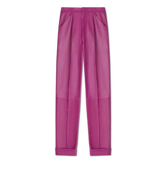LEATHER PLEATED PANTS A fullsize