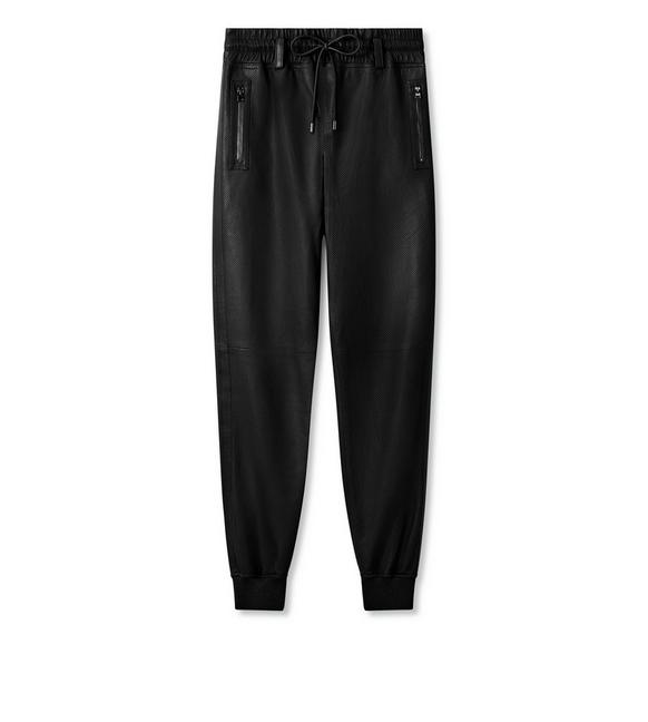 PERFORATED LEATHER JOGGING PANTS A fullsize