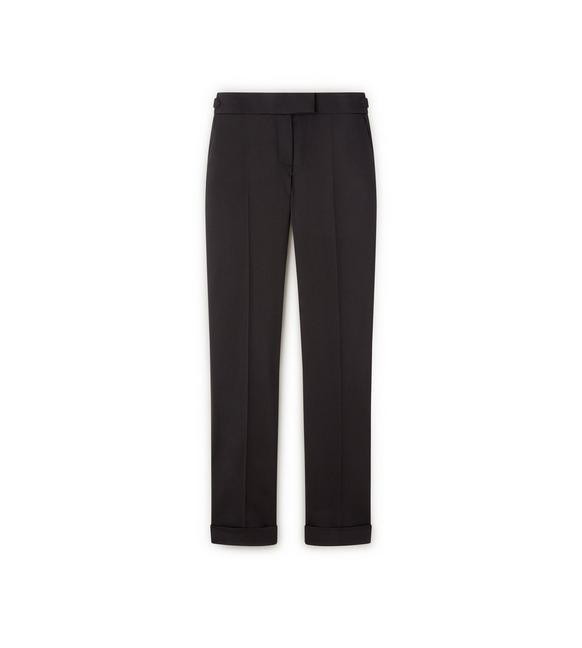WOOL GABARDINE STRETCH SLIM TROUSERS WITH CUFF A fullsize