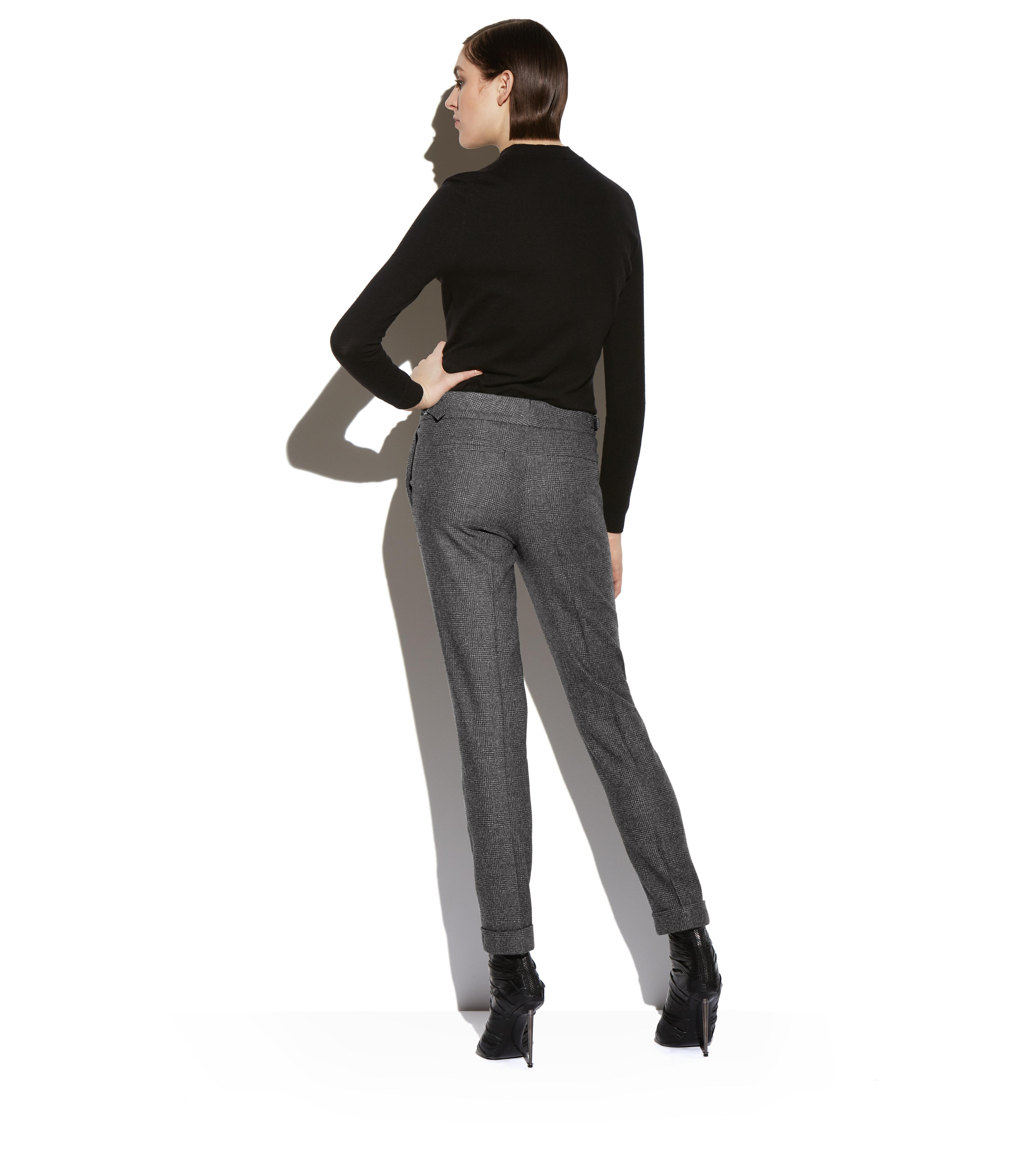 PRINCE OF WALES CHECK SLIM TROUSERS WITH CUFF C thumbnail