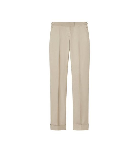 SHINY VISCOSE SLIM TROUSERS WITH CUFF A fullsize