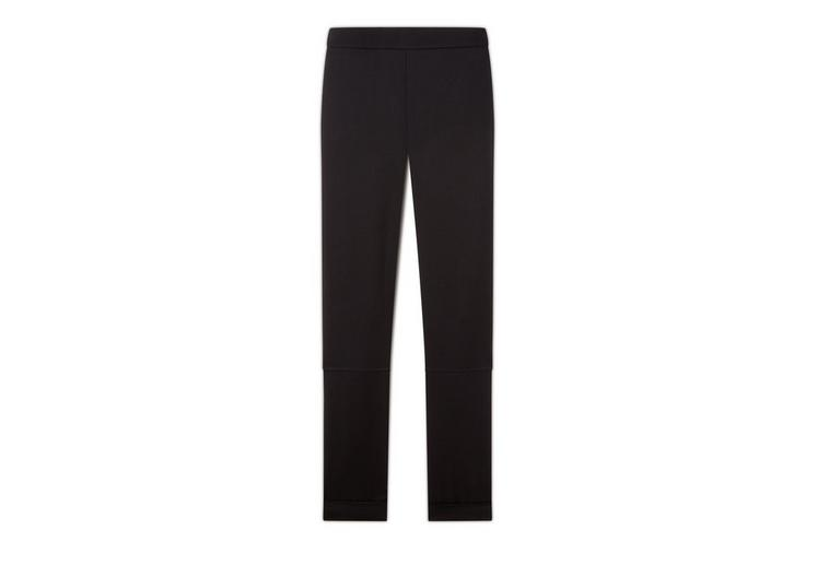 WOOL GABARDINE LEGGINGS WITH ANKLE CUFF & ZIP A fullsize