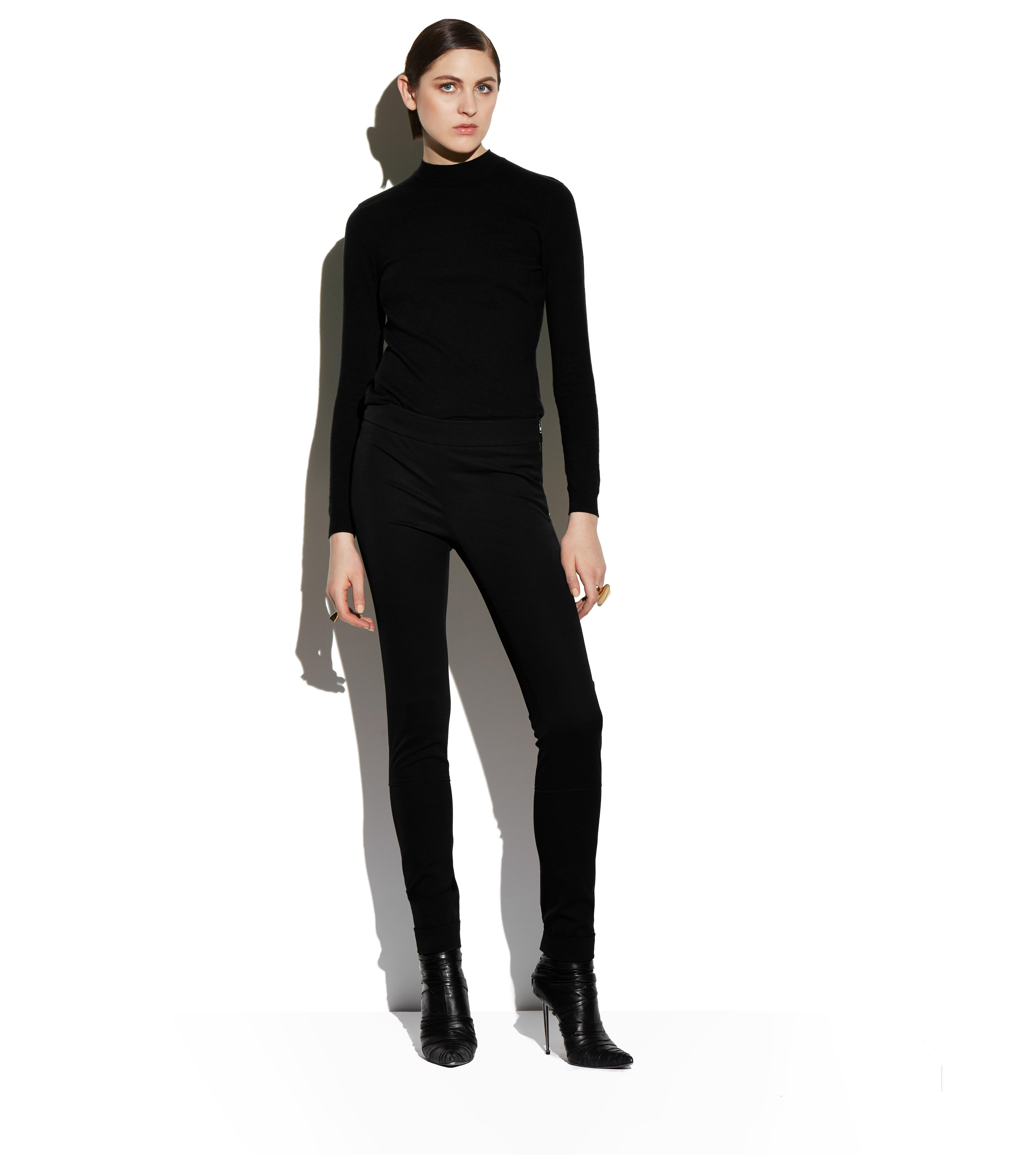 WOOL GABARDINE LEGGINGS WITH ANKLE CUFF & ZIP B thumbnail