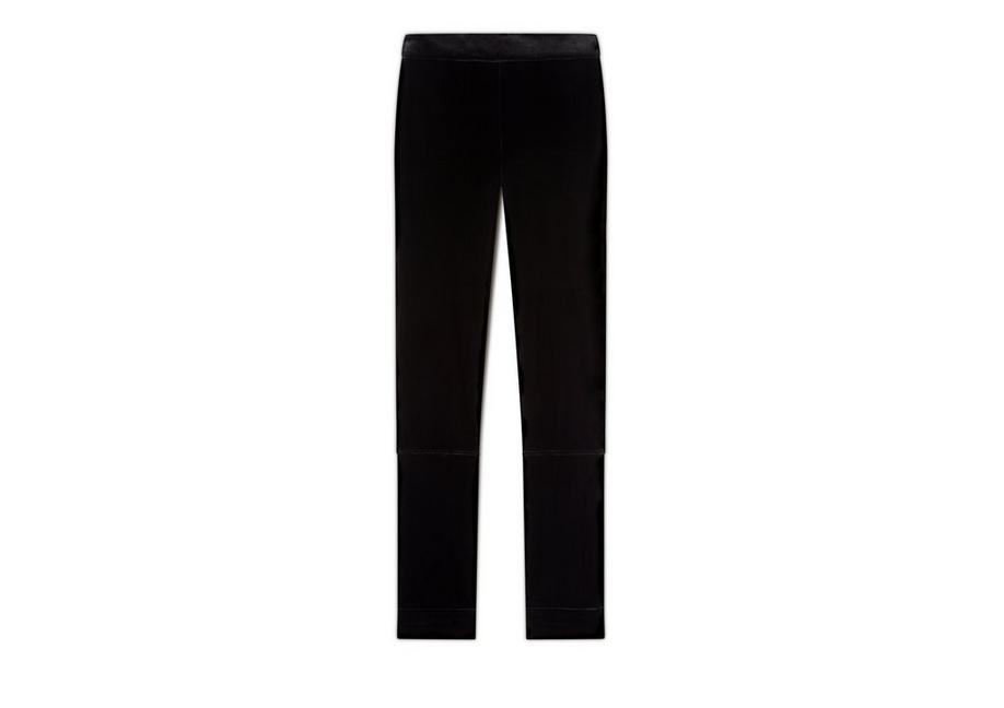 VELVET LEGGINGS WITH ANKLE CUFF & ZIP A fullsize