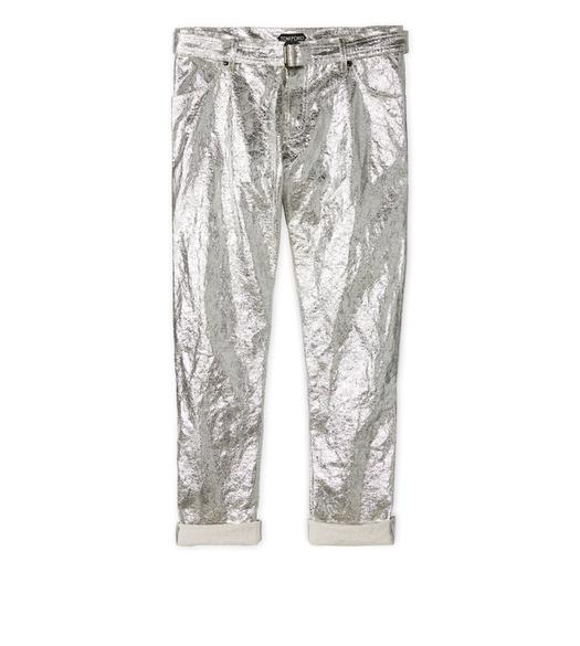 METALLIC BOYFRIEND PANTS