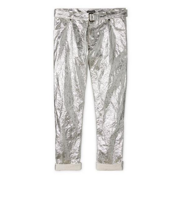 METALLIC BOYFRIEND PANTS A fullsize