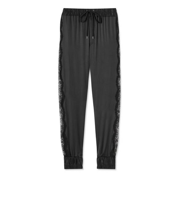 SILK SATIN AND LACE JOGGERS A fullsize