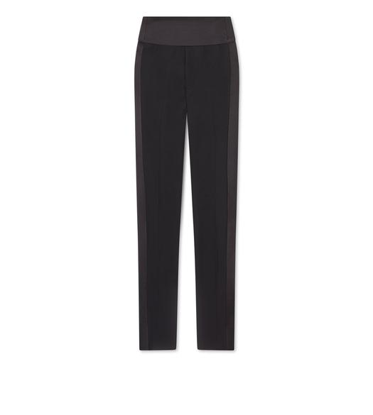 WOOL SILK SHAPED WAISTBAND TUXEDO PANTS