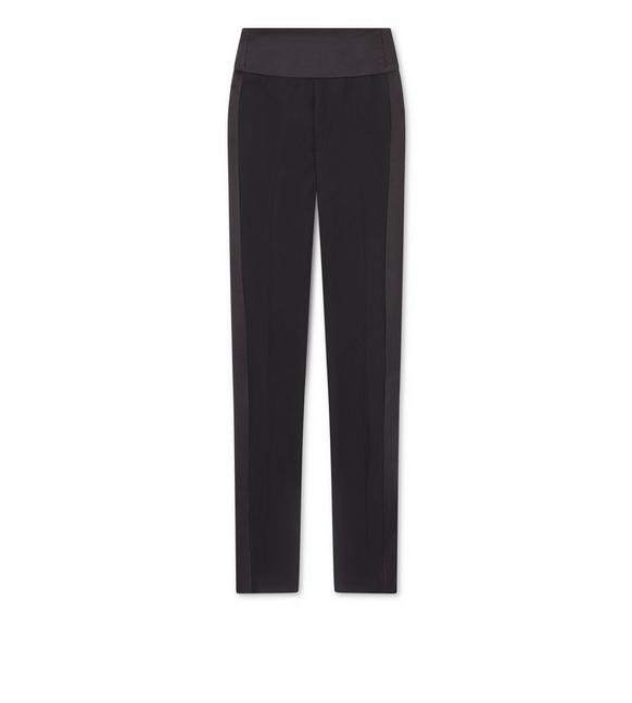 WOOL SILK SHAPED WAISTBAND TUXEDO PANTS A fullsize