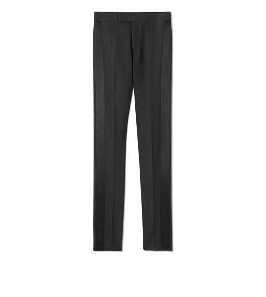 WOOL SILK STRAIGHT LEG TUXEDO PANTS