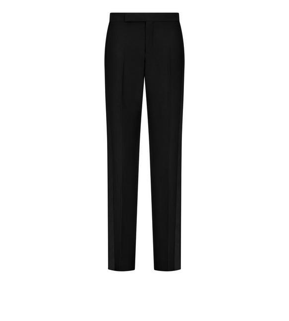 Tom Ford Pants WOOL SILK STRAIGHT LEG TUXEDO PANTS