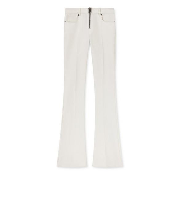 STRETCH WOOL ZIP FRONT FLARE PANTS A fullsize